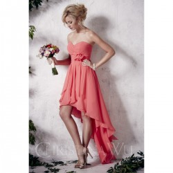 Bridesmaids Dresses - BM053 - $170 - Strapless chiffon hi-low dress with empire waist by Christina Wu.