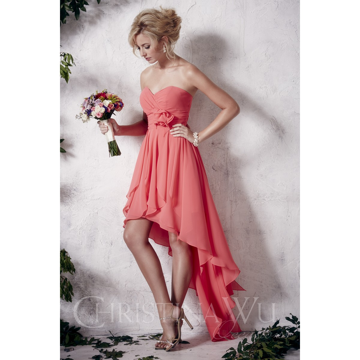 BM053 - $170 - Strapless chiffon hi-low dress with empire waist by ...