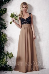Bridesmaids Dresses - BM058 - $180 - Chiffon and lace dress with gathered waistband and open back by Christina Wu.