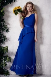 Bridesmaids Dresses - BM054 - $160 - One shoulder chiffon dress with a side drape and satin belt by Christina Wu.