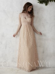 Bridesmaids Dresses - BM055 - $240 - Strapless chiffon and lace dress with empire waist by Christina Wu.