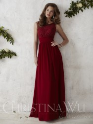 Bridesmaids Dresses - BM056 - $180 - Chiffon and lace dress with a partial open back by Christina Wu.