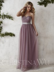 Bridesmaids Dresses - BM060 - $170 - Strapless tulle dress with a broach on the waistband by Christina Wu.