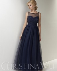 Bridesmaids Dresses - BM051 - $170 - Tulle dress with sequin bodice and sheer back by Christina Wu.