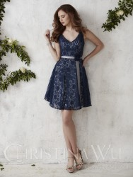 Bridesmaids Dresses - BM057 - $170 - Short satin and lace dress with tank-style bodice by Christina Wu.