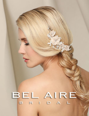 Bridal accessories - Organza flowers and rhinestone comb by Bel Aire Bridal