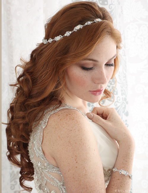 Bridal accessories - Opal crystal halo