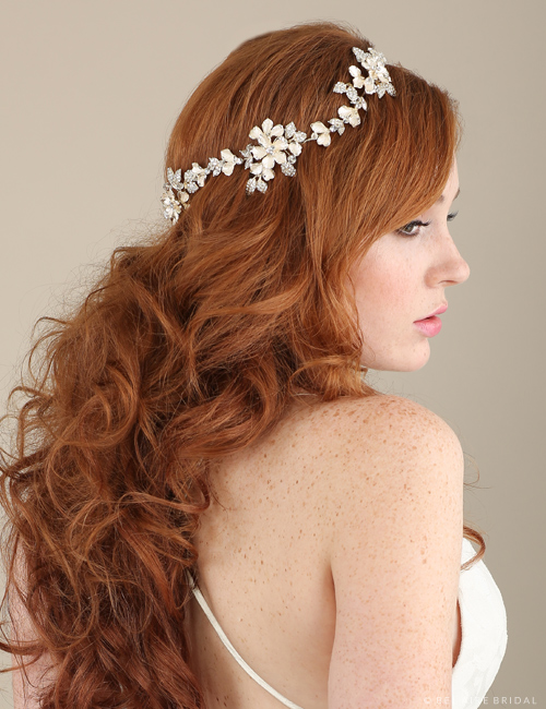 Bridal accessories - Metal flowered halo by Bel Aire Bridal
