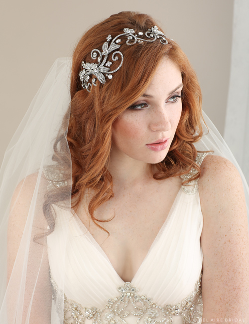 Bridal accessories - Rhinestone swirl headband by Bel Aire Bridal