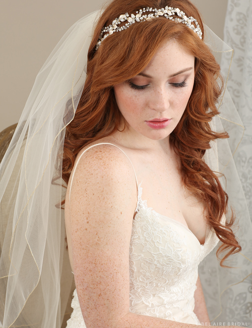 Bridal accessories - Woven headband with metallic leaves and pearls by Bel Aire Bridal