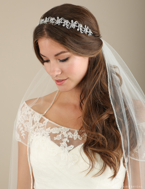 Bridal accessories - Rhinestone flower and swirl headband by Bel Aire Bridal