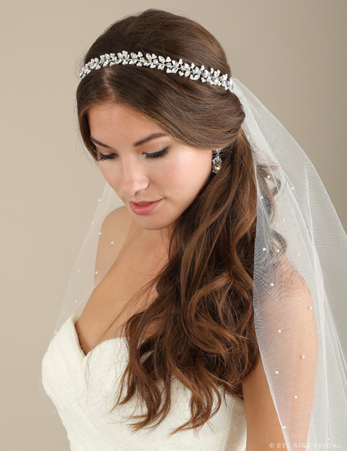 Bridal accessories - Wired pearl tie headband by Bel Aire Bridal