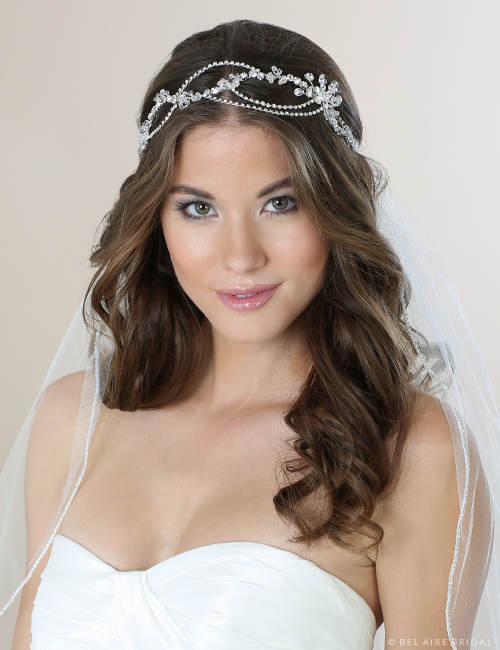Bridal accessories - Crystal and rhinestone bandeau by Bel Aire Bridal