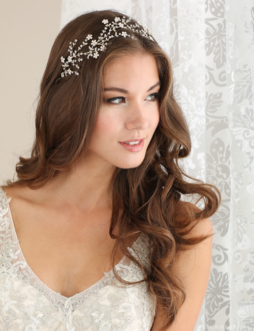 Bridal accessories - Delicate floral and metal vine headband by Bel Aire Bridal