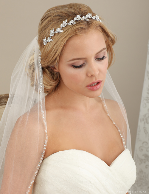 Bridal accessories - Rhinestone headband with marquise leaves by Bel Aire Bridal