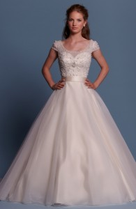 Bridal gowns - LGM62 - Satin and tulle wedding dress with a beaded embroidery pattern by Romantic Bridals.