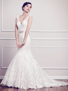Bridal gowns - LGM71 -Lace tulle wedding dress with a detachable sash and deep V-back by Kenneth Winston.