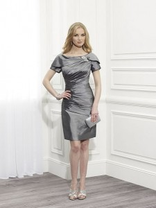 MOG Dresses - BM/MOB032 - $275 - Taffeta dress with short sleeves and beaded medallion by Val Stefani
