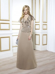 MOG Dresses - BM/MOB028 - $300 - Iridescent chiffon dress with flutter sleeves by Val Stefani