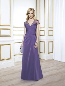 MOG Dresses - BM/MOB037 - $400 - Iridescent chiffon dress with illusion neckline and short sleeves by Val Stefani