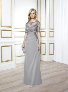 MOG Dresses - BM/MOB031 - $500 - Chiffon dress with lace elbow-length sleeves and empire waist by Val Stefani