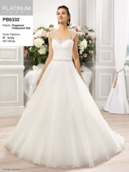 Bridal gowns - LGM53 - $875 - Chiffon A-line wedding dress with cap sleeves and jeweled sash by Moonlight Bridal.