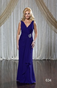 MOG Dresses - BM/MOB018 - $325 - Chiffon dress with front brooch by Romantic Bridals