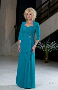 MOG Dresses - Chiffon dress with front brooch by Romantic Bridals - available with jacket