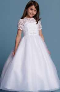 Flower Girl Dresses - FL003 - $240 - Lace and tulle dress with sleeves by Romantic Bridals.