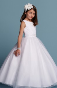 Flower Girl Dresses - FL002 - $200 -Tulle dress with beaded V-neck and sash by Romantic Bridals.