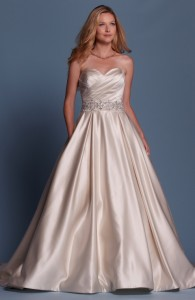 Bridal gowns - LGM61 - Satin wedding dress with detachable belt by Romantic Bridals.