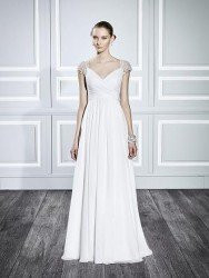 Bridal gowns - LGM84 - A-line chiffon wedding dress with an illusion back and cap sleeves by Moonlight Bridal.