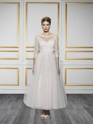 Bridal gowns - LGM86 - Tea-length tulle wedding dress with sleeves by Moonlight Bridal.