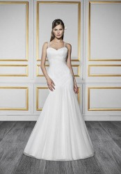 Bridal gowns - LGM94 - $850 - Ruched wedding dress with beaded straps and a sweep train by Moonlight Bridal. This dress can be ordered with a blush underlay.