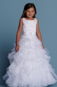 Flower Girl Dresses - FL001 - $200 - Satin and organza dress with an embellished satin sash by Romantic Bridals.