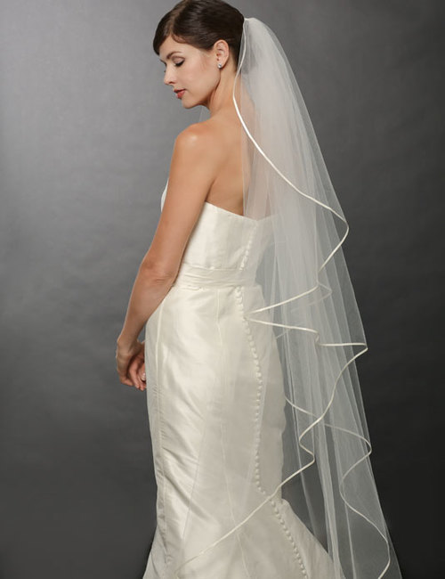 Bridal accessories - Tulle and ribbon floor-length veil by Bel Aire Bridal