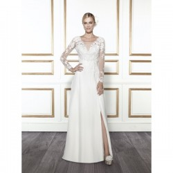 Bridal gowns - LGM90 - $700 - Lace and chiffon wedding dress with long sleeves by Moonlight Bridal. This dress can be ordered with a blush underlay.