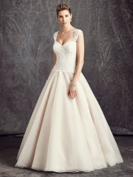 Bridal gowns - LGM72 - Cotton lace wedding dress over organza with detachable cap sleeves by Ella Rosa.