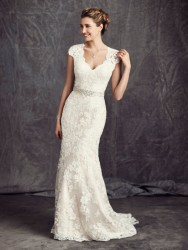 Bridal gowns - LGM67 - Cotton lace over satin sheath wedding dress with a detachable sash by Ella Rosa.