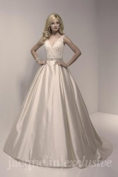 Bridal gowns - LGM77 - Satin and lace wedding dress with a beaded belt by Christina Wu.