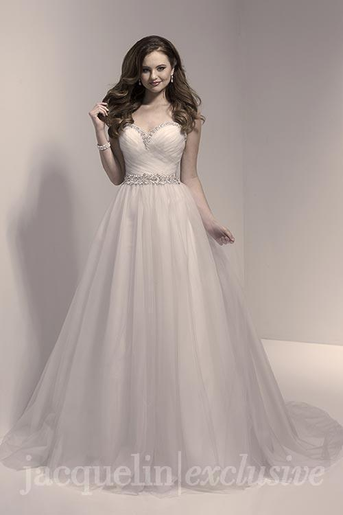 98a9dcab89b Bridal gowns - LGM78 - Strapless A-line wedding dress with a beaded belt and