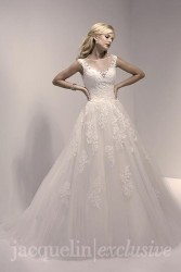 Bridal gowns - LGM80 - Lace and tulle wedding dress with an illusion neckline by Christina Wu.