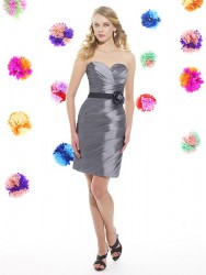 Bridesmaids Dresses - BM042 - $180 - Taffeta dress with a sash at the waist by Moonlight Bridal.