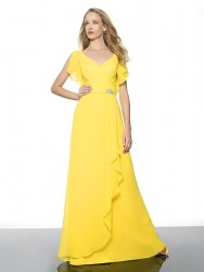 Bridesmaids Dresses - BM044 - $240 - Cascading chiffon dress with a sash and medallion by Val Stefani.