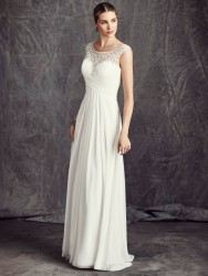 Bridal gowns - LGM75 - Chiffon and satin sheath wedding dress with beaded embroidery pattern by Ella Rosa.