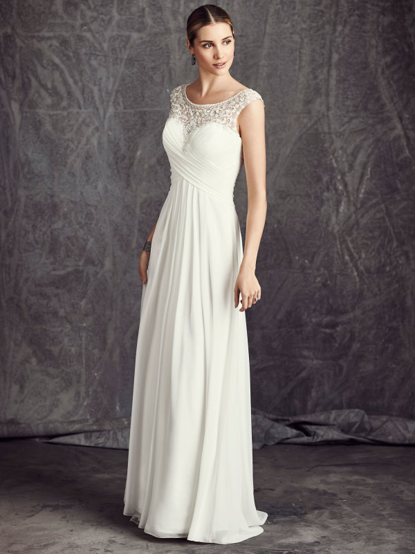 97c864ef5cd Bridal gowns - LGM75 - Chiffon and satin sheath wedding dress with beaded  embroidery pattern by