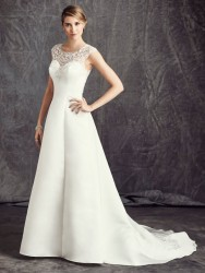 Bridal gowns - LGM76 - Satin wedding dress with a beaded embroidery pattern by Ella Rosa.