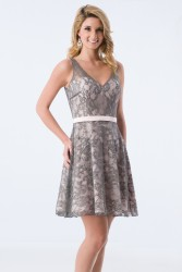 Bridesmaids Dresses - BM066 - $160 - Short halter top satin and lace dress by Kanali K.