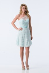 Bridesmaids Dresses - BM072 - $160 - One shoulder satin and lace dress with satin sash by Kanali K.