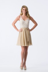 Bridesmaids Dresses - BM070 - $160 - Short halter top chiffon dress with a lace bodice by Kanali K.